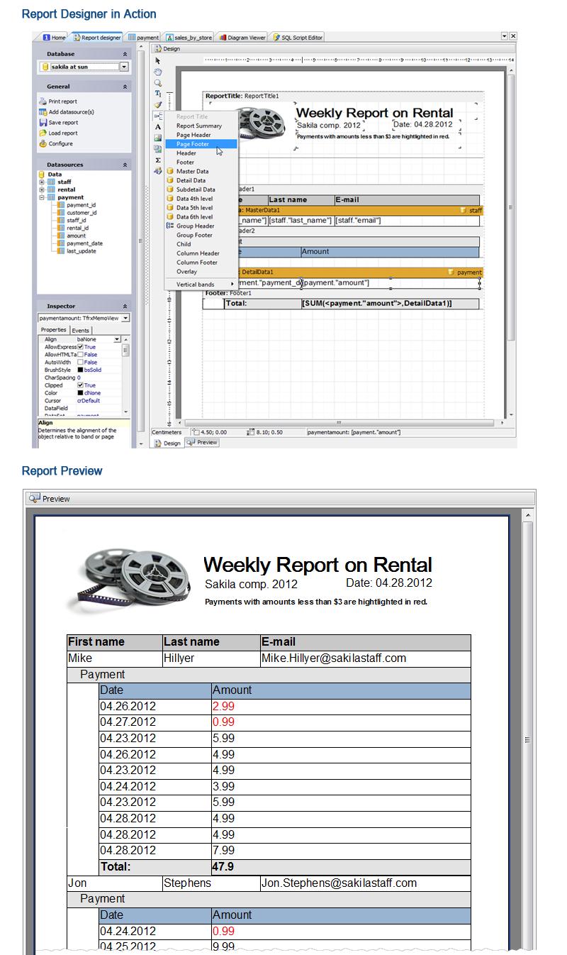 Mysql admin - Back Report Designer Next