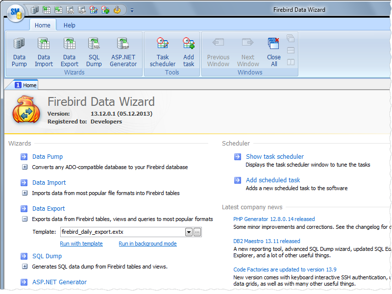 Click to view Firebird Data Wizard 13.12 screenshot
