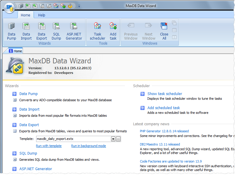 Click to view MaxDB Data Wizard screenshots