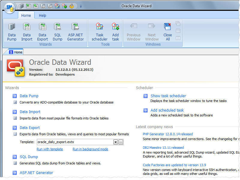 Oracle Data Wizard