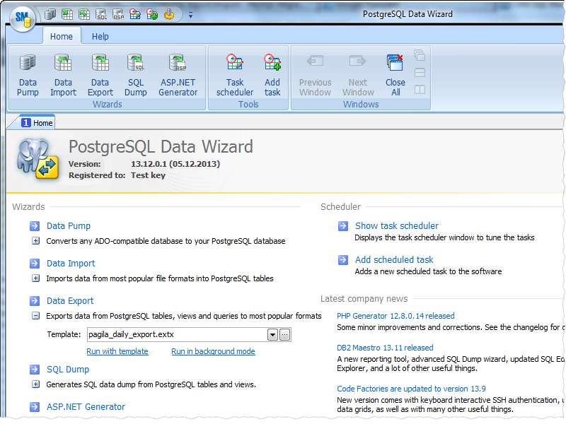 PostgreSQL Data Wizard full screenshot