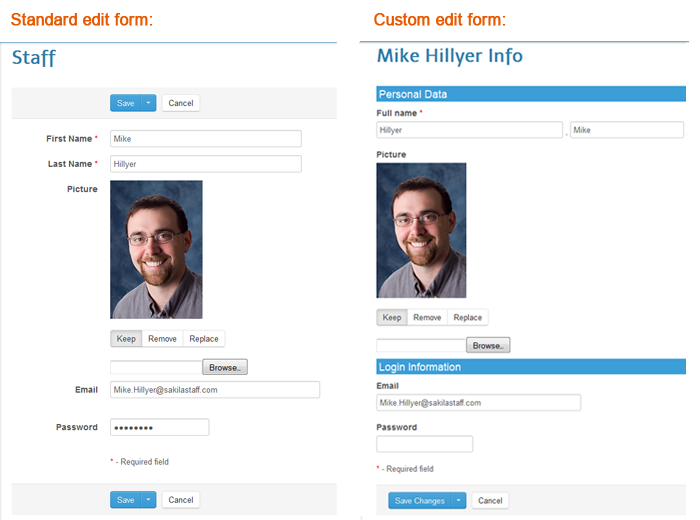 The edit form: before and after customization.