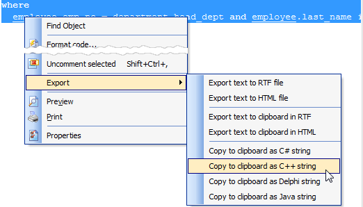 SQL Editor: copy selected text as a string written in programming language