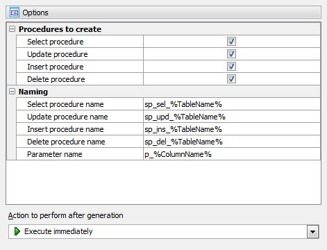 Generating of DML procedures
