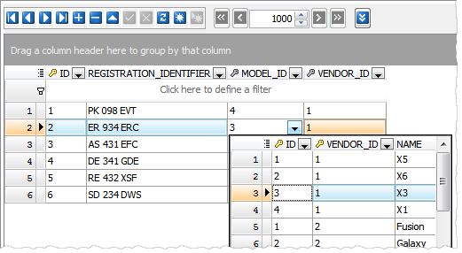 Multi-column lookup editor