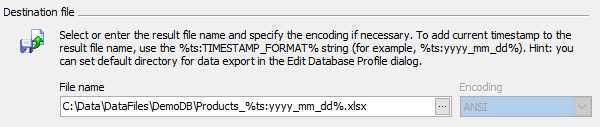 Data Export: adding current timestamp to output file name