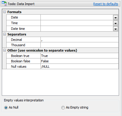 Data Import defaults