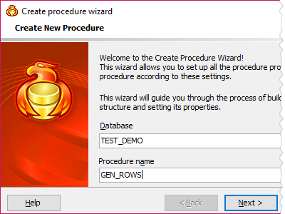 Create external procedure wizard