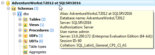 Connecting to SQL Server 2016 database