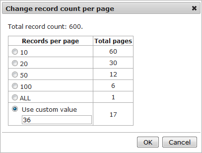 Changing the number of records per page