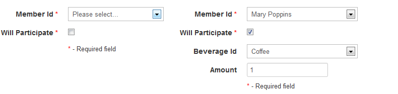 The dinamic hiding of the 'Beverage Id' and the 'Amount' controls depending on the 'Will participate' value.