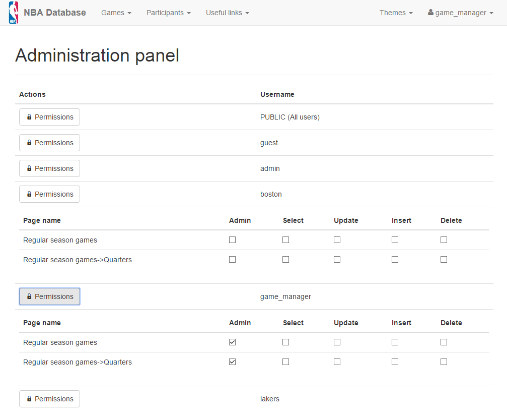 Page-level Admin Panel