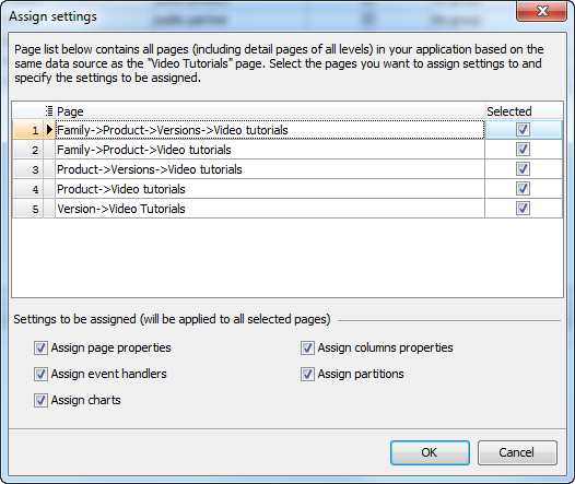 Assign Settings dialog