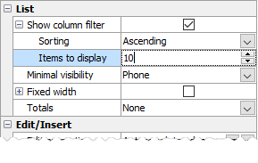 Column Filter Properties