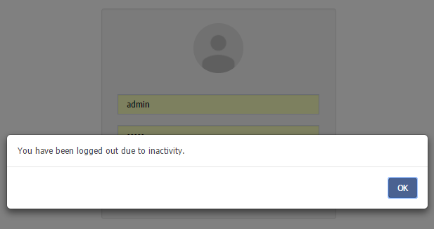 Inactivity Timeout Message