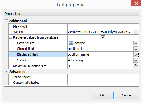Multiple Select Editor properties