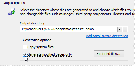Generate modified pages only