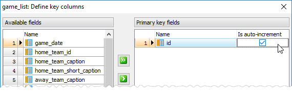 Autoincrement key column