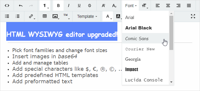 HTML WYSIWYG Editor upgraded