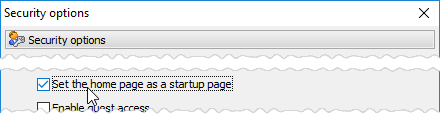 Set the home page as a startup page option