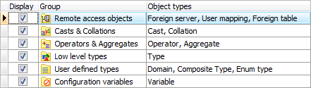 Database explorer options: excluding rarely used objects