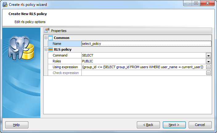 Create Row Security Policy wizard