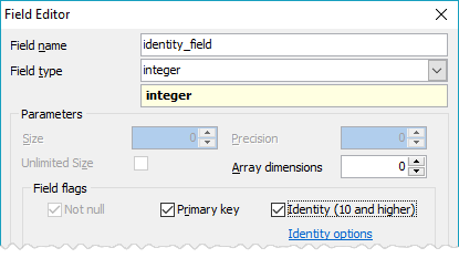 Field Editor: adding an identity column