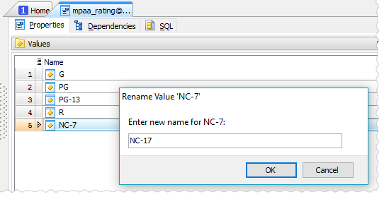 Renaming enum value