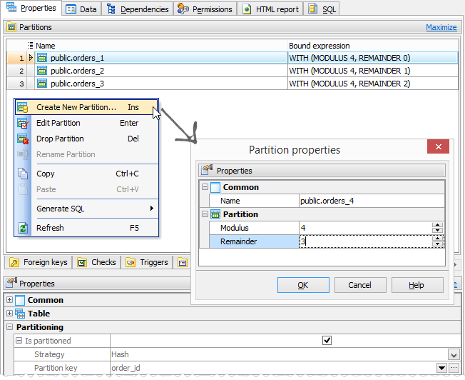 Adding a partition of a hash partitioned table