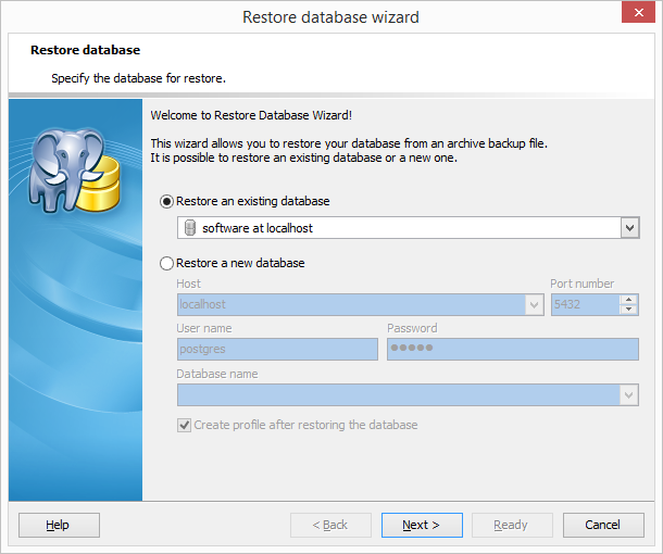 Restore database wizard